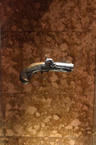 The one-shot pistol John Wilkes Booth used to kill Abraham Lincoln.